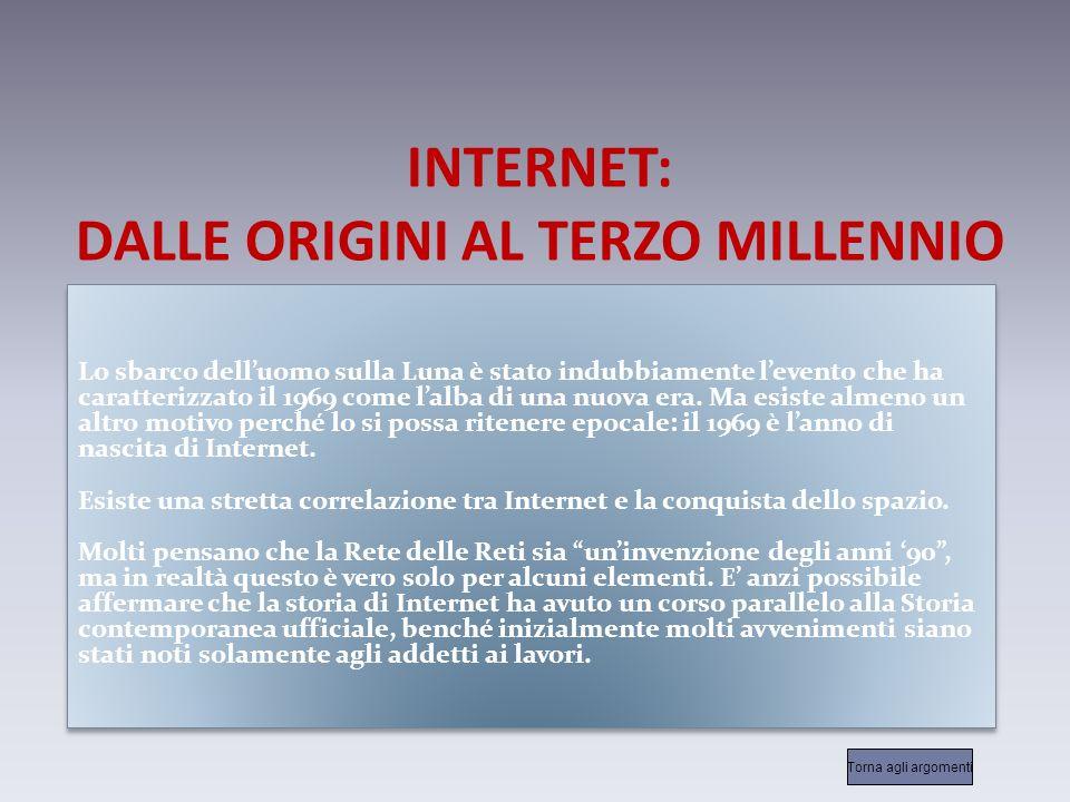 INTERNET: DALLE ORIGINI AL TERZO MILLENNIO