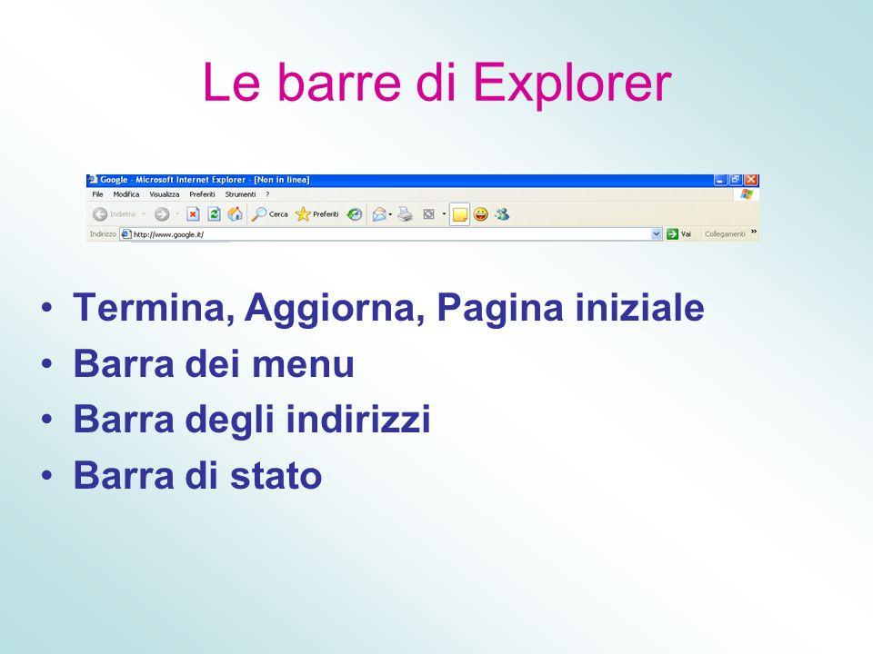 Le barre di Explorer Termina, Aggiorna, Pagina iniziale Barra dei menu