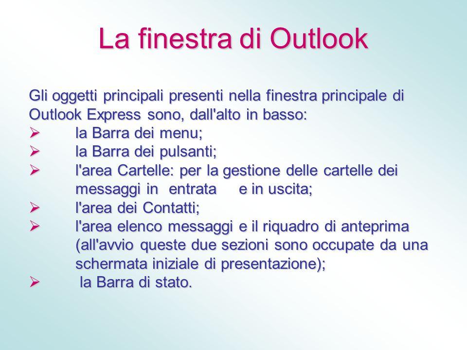 La finestra di Outlook Gli oggetti principali presenti nella finestra principale di Outlook Express sono, dall alto in basso: