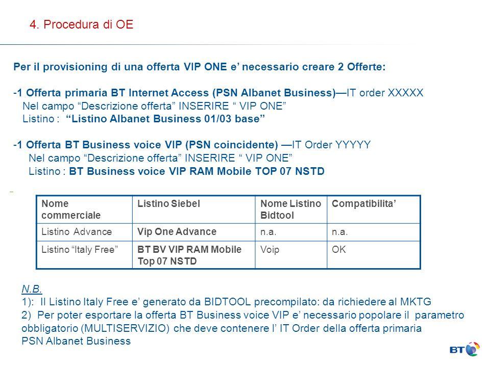 4. Procedura di OE Per il provisioning di una offerta VIP ONE e' necessario creare 2 Offerte: