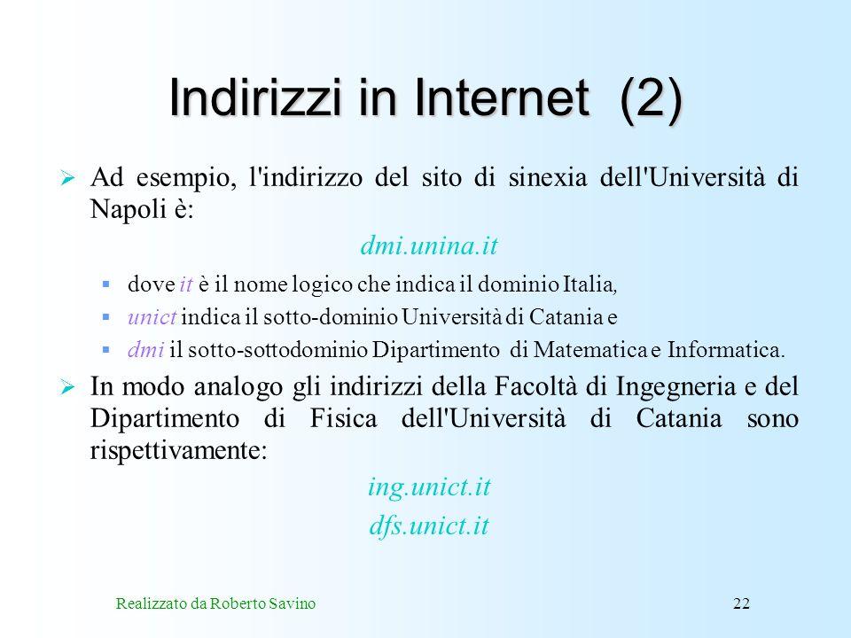 Indirizzi in Internet (2)