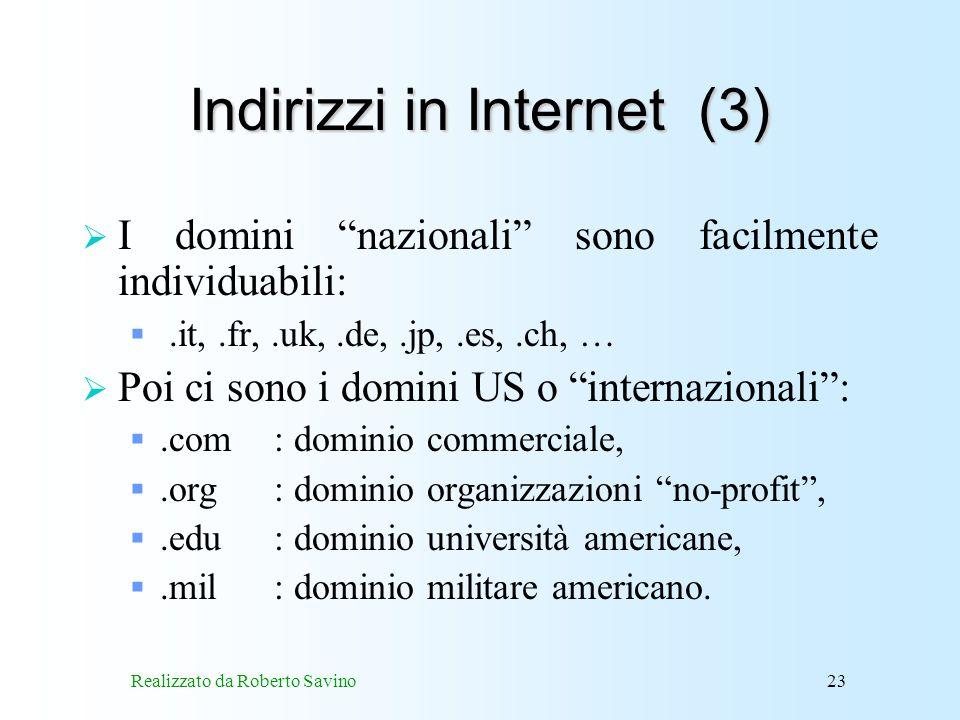 Indirizzi in Internet (3)