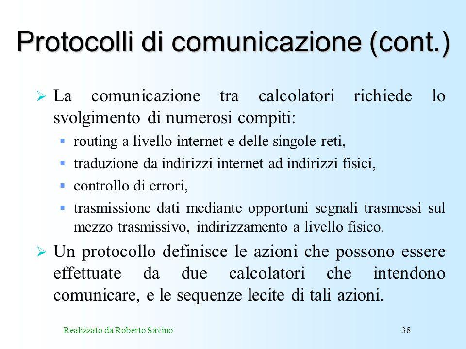 Protocolli di comunicazione (cont.)