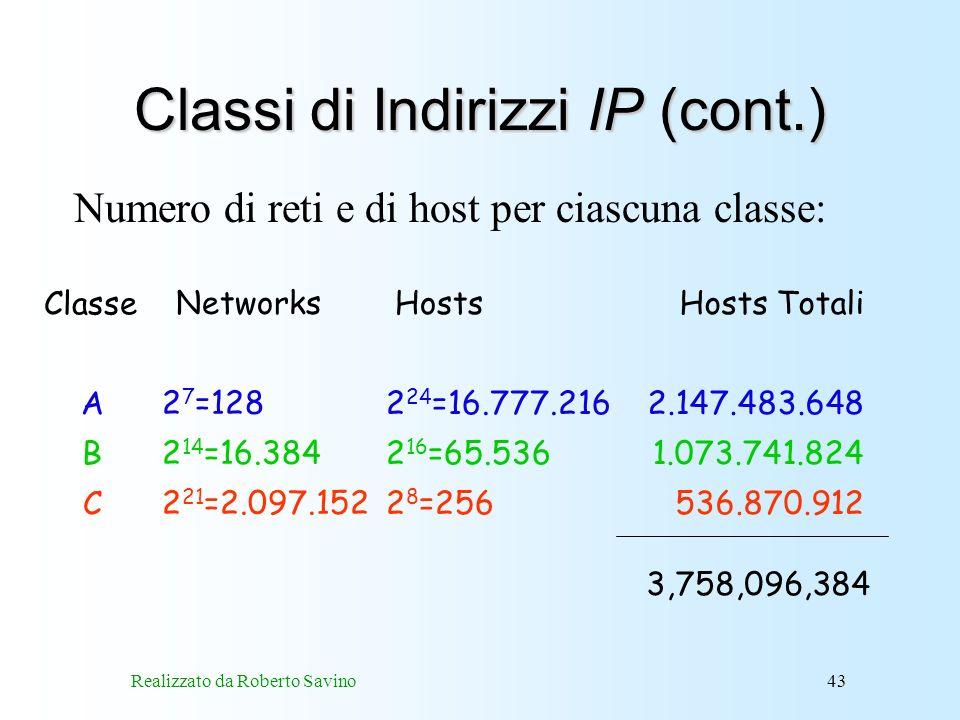 Classi di Indirizzi IP (cont.)