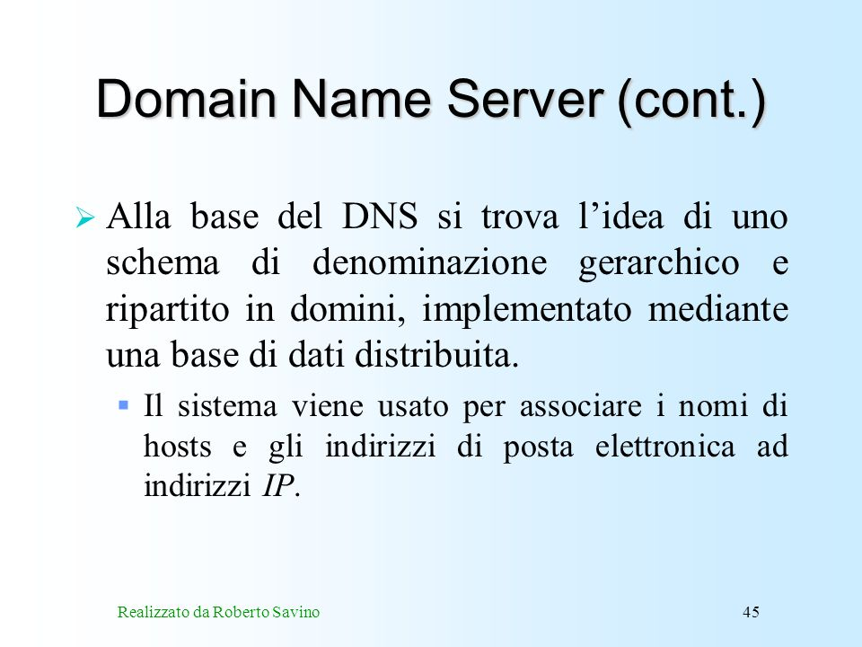 Domain Name Server (cont.)