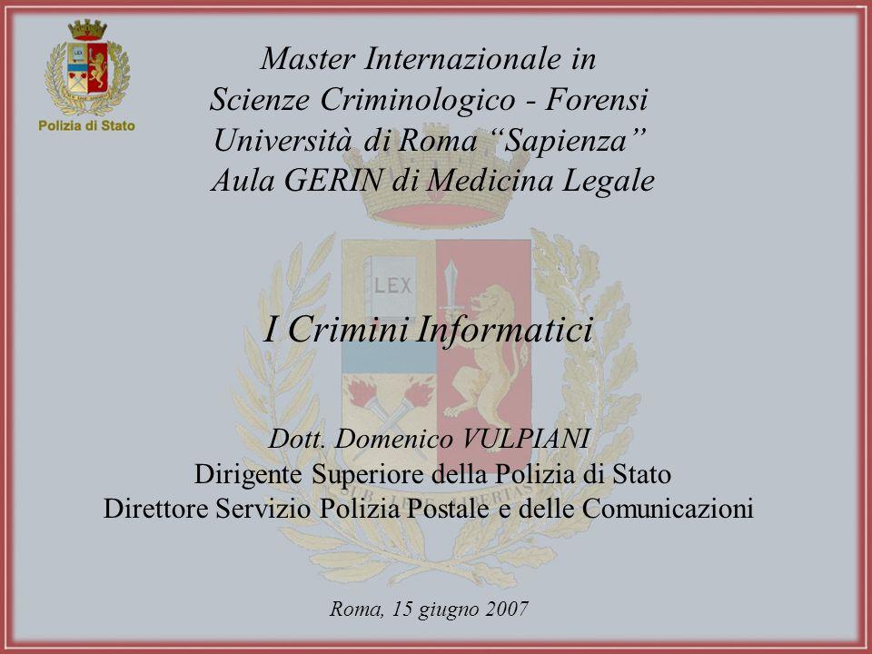 I Crimini Informatici Master Internazionale in
