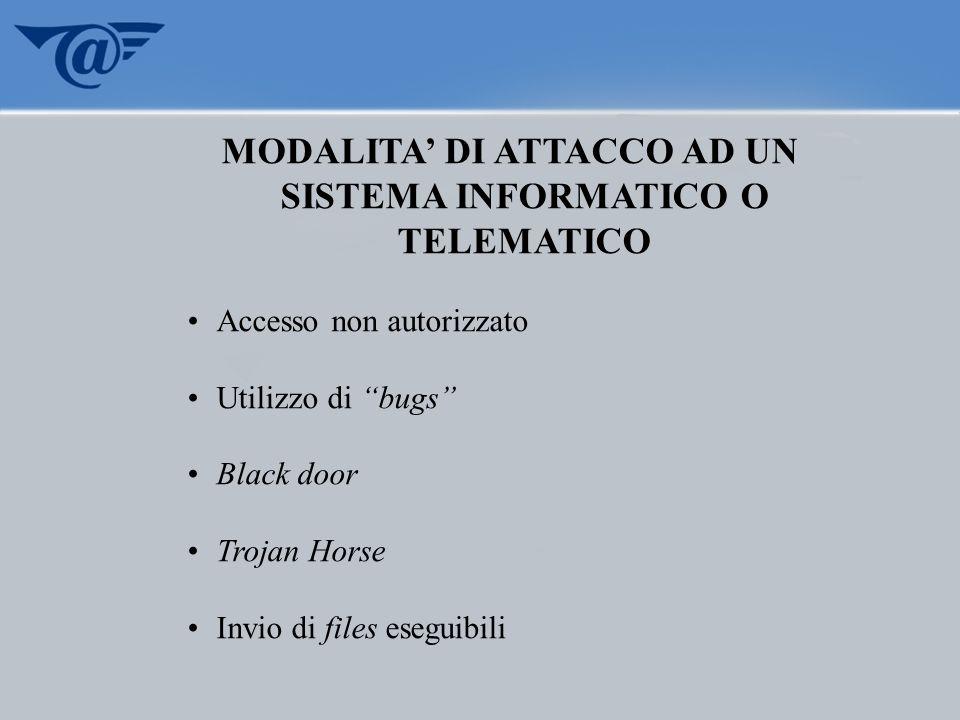 MODALITA' DI ATTACCO AD UN SISTEMA INFORMATICO O TELEMATICO