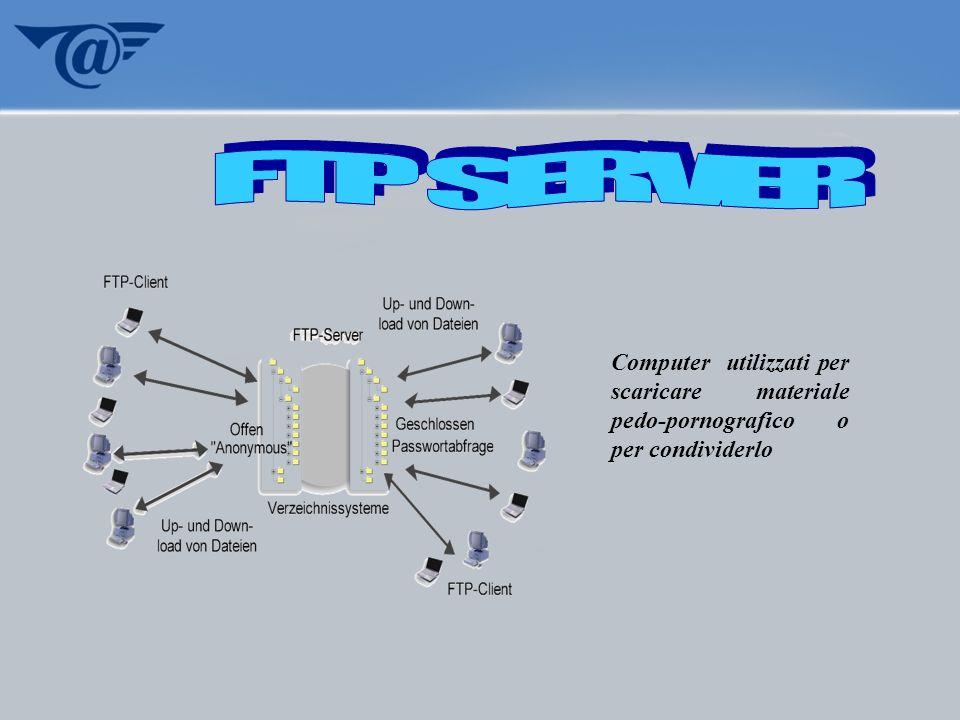 FTP SERVER Computer utilizzati per scaricare materiale pedo-pornografico o per condividerlo