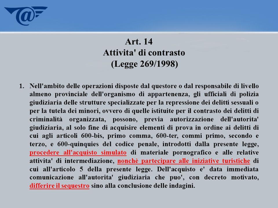 Art. 14 Attivita di contrasto
