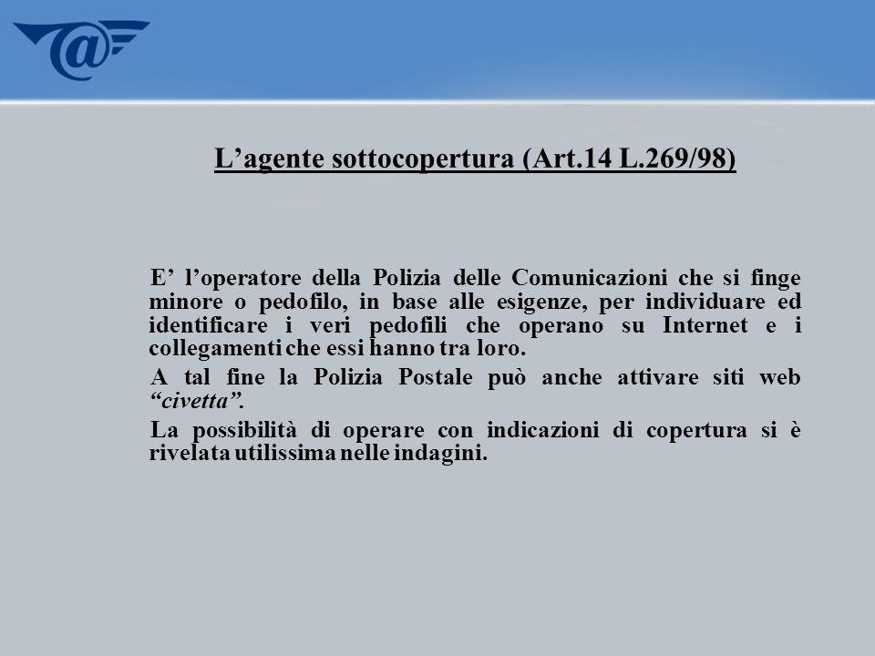 L'agente sottocopertura (Art.14 L.269/98)