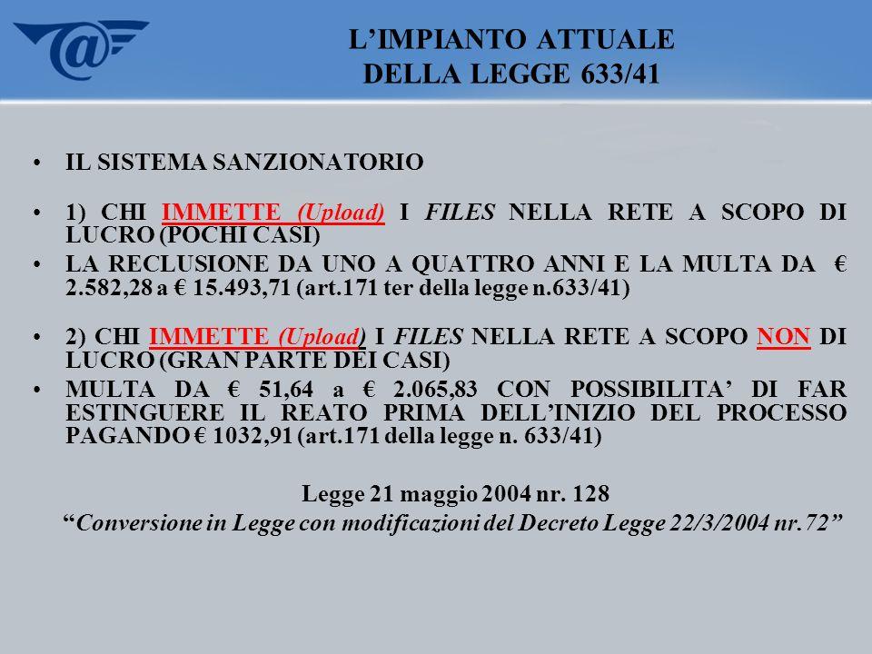 L'IMPIANTO ATTUALE DELLA LEGGE 633/41