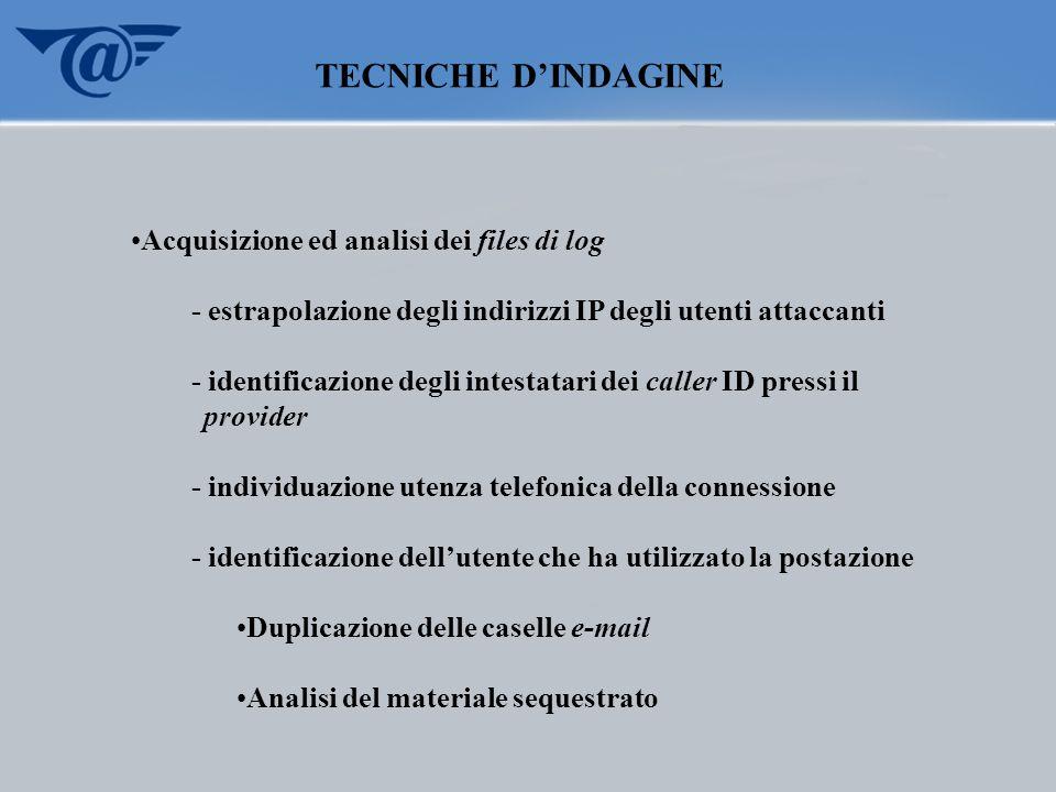 TECNICHE D'INDAGINE Acquisizione ed analisi dei files di log