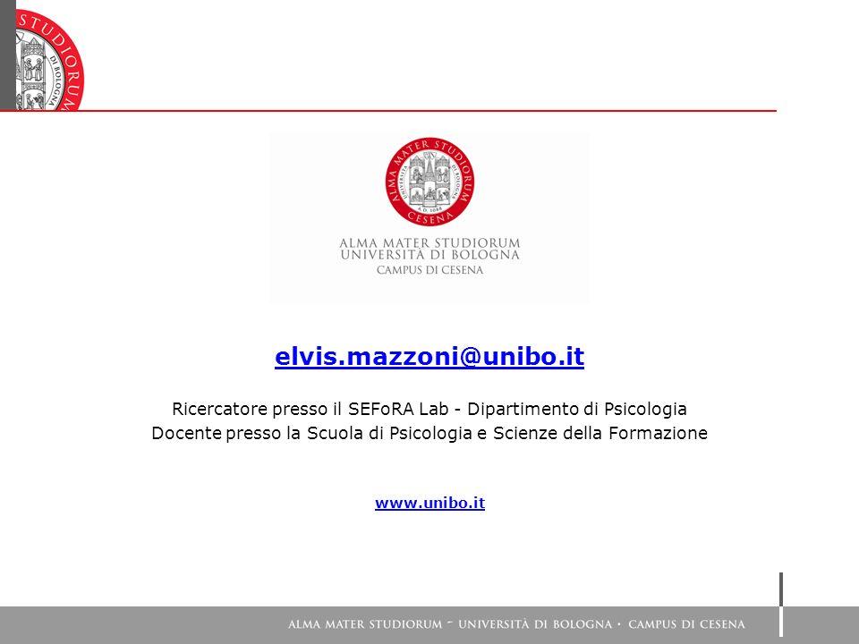 elvis.mazzoni@unibo.it Ricercatore presso il SEFoRA Lab - Dipartimento di Psicologia.