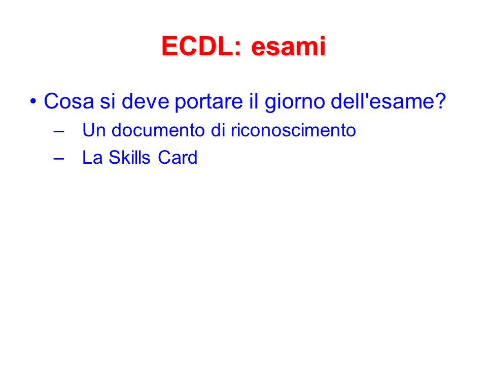 ECDL: esami Cosa si deve portare il giorno dell esame