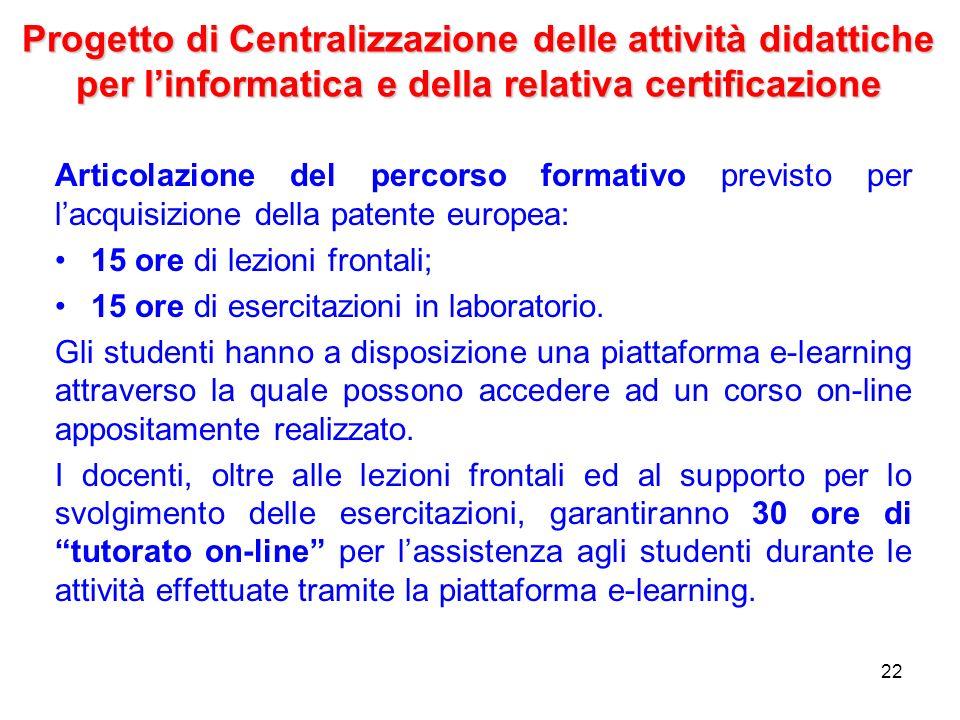 Progetto di Centralizzazione delle attività didattiche per l'informatica e della relativa certificazione