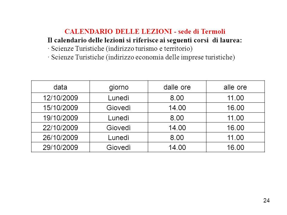 CALENDARIO DELLE LEZIONI - sede di Termoli