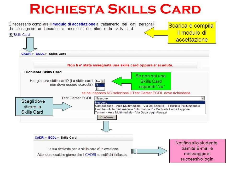Richiesta Skills Card Scarica e compila il modulo di accettazione