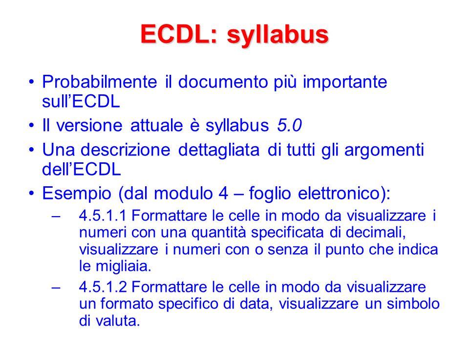 ECDL: syllabus Probabilmente il documento più importante sull'ECDL