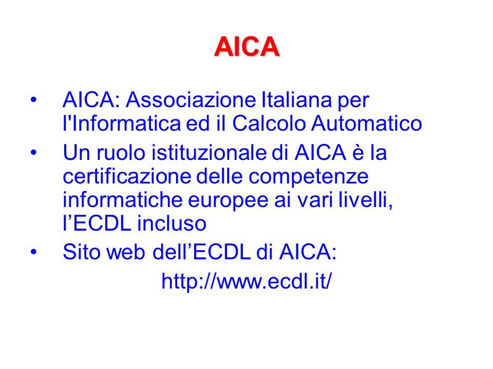 AICA AICA: Associazione Italiana per l Informatica ed il Calcolo Automatico.