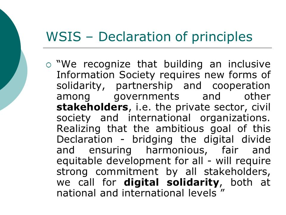 WSIS – Declaration of principles