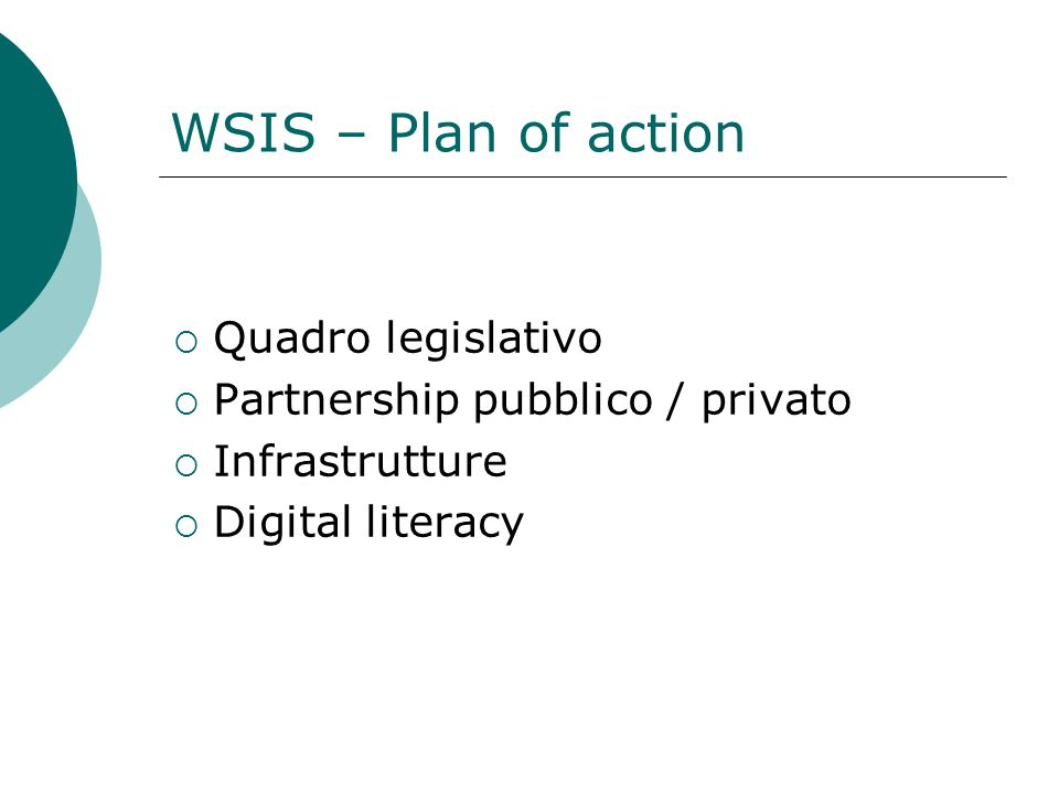 WSIS – Plan of action Quadro legislativo