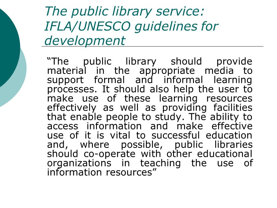 The public library service: IFLA/UNESCO guidelines for development
