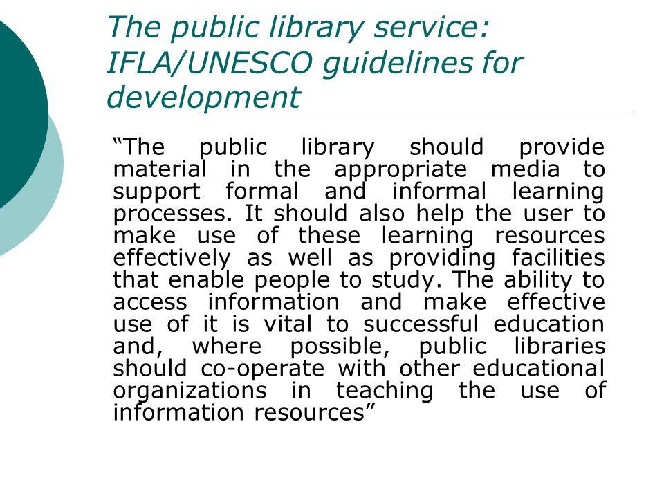 The public library service: IFLA/UNESCO guidelines for development