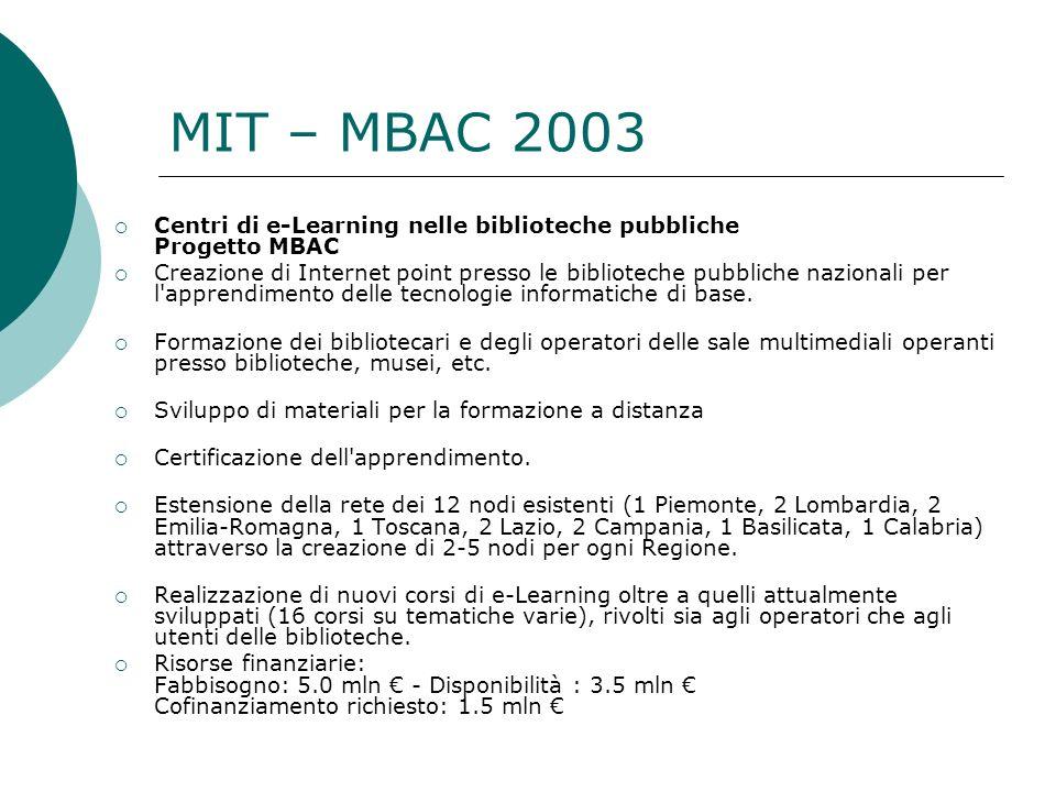 MIT – MBAC 2003 Centri di e-Learning nelle biblioteche pubbliche Progetto MBAC.