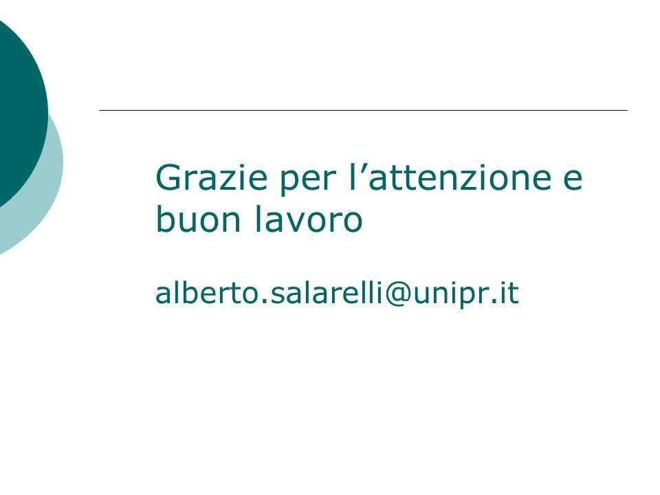 Grazie per l'attenzione e buon lavoro alberto.salarelli@unipr.it