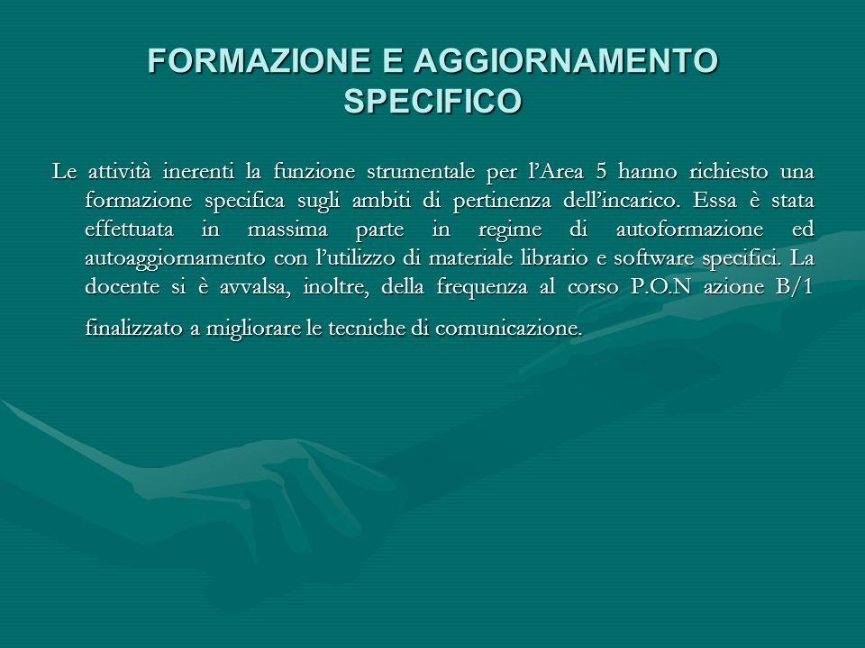 FORMAZIONE E AGGIORNAMENTO SPECIFICO