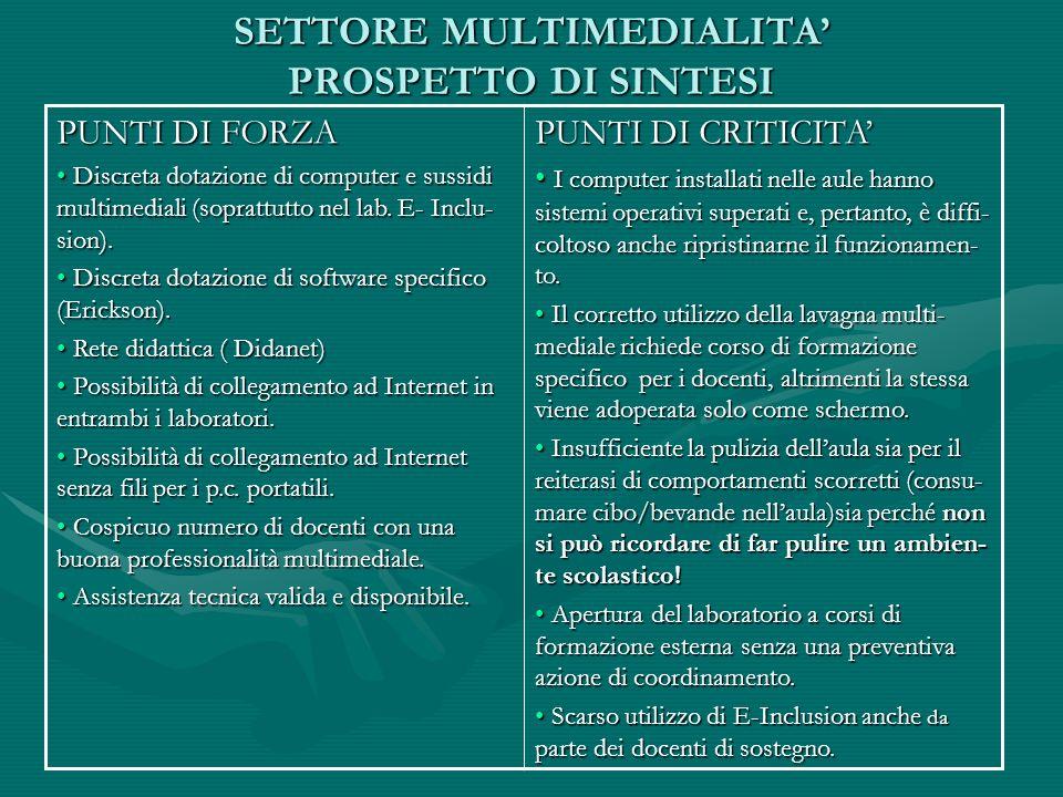 SETTORE MULTIMEDIALITA' PROSPETTO DI SINTESI