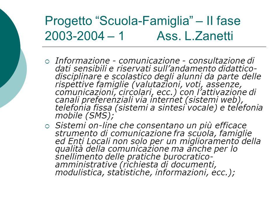 Progetto Scuola-Famiglia – II fase 2003-2004 – 1 Ass. L.Zanetti