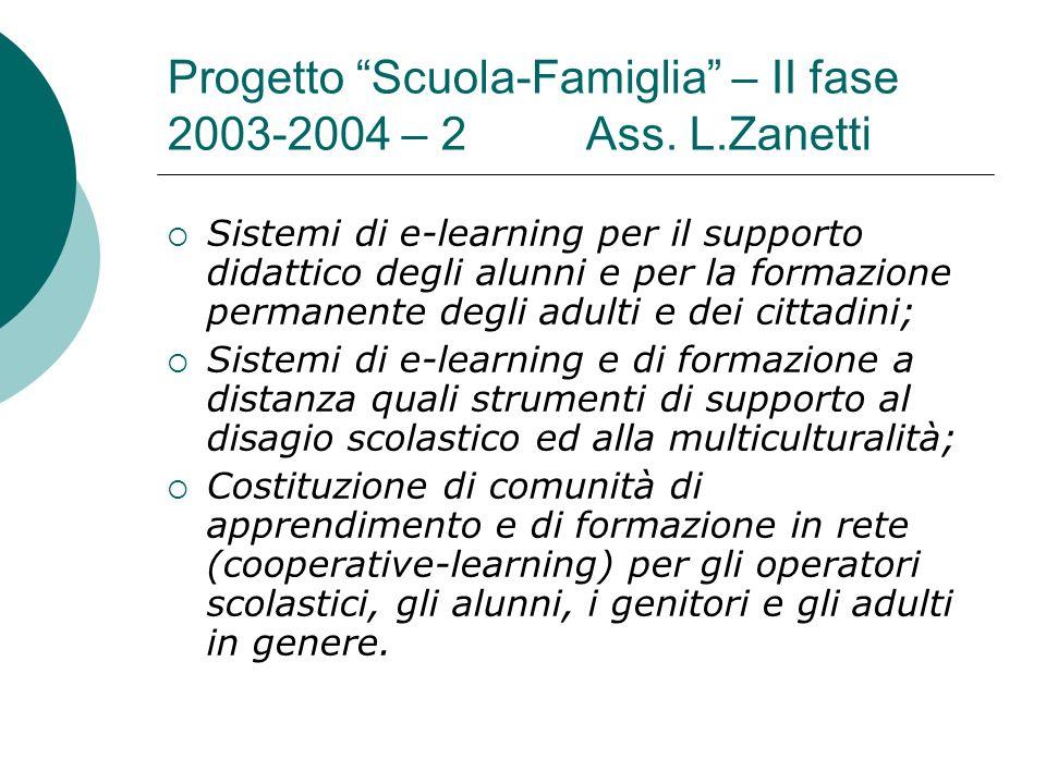Progetto Scuola-Famiglia – II fase 2003-2004 – 2 Ass. L.Zanetti