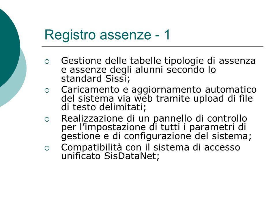 Registro assenze - 1 Gestione delle tabelle tipologie di assenza e assenze degli alunni secondo lo standard Sissi;