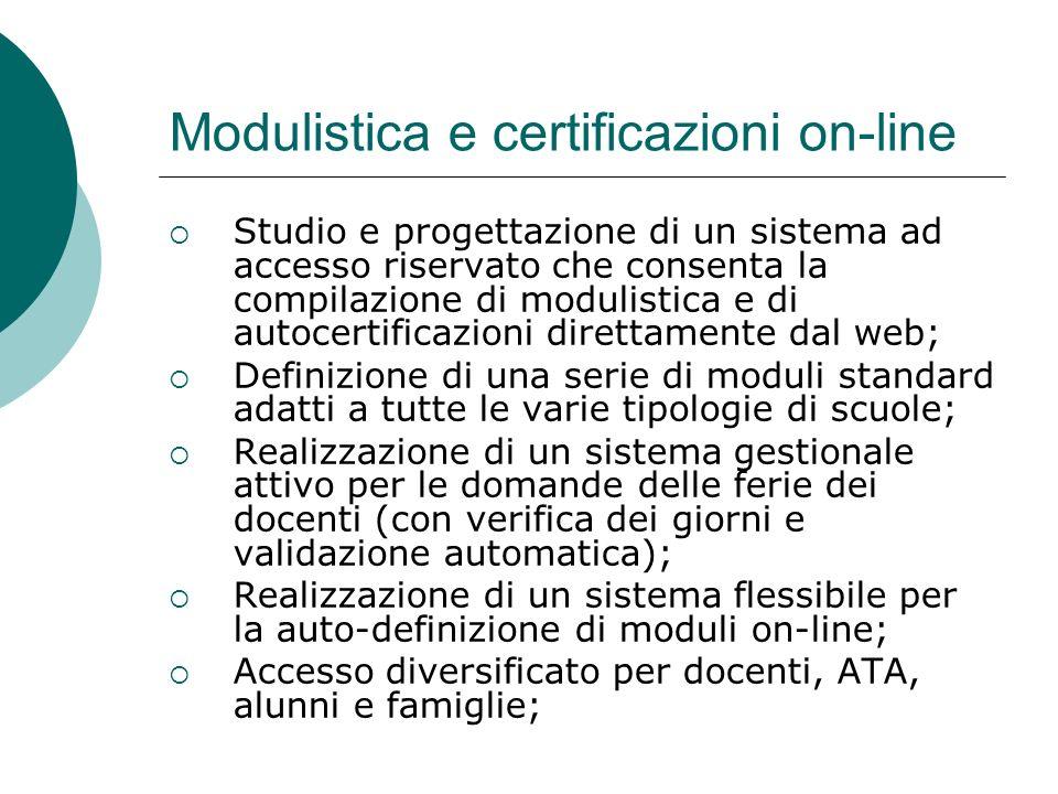 Modulistica e certificazioni on-line