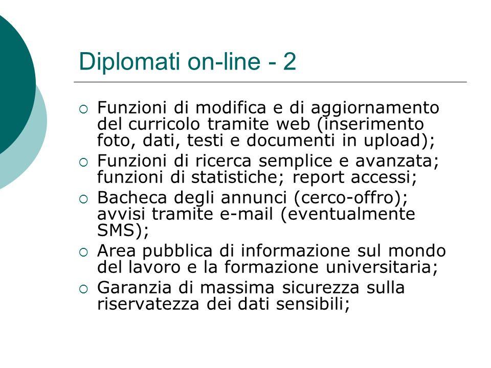 Diplomati on-line - 2 Funzioni di modifica e di aggiornamento del curricolo tramite web (inserimento foto, dati, testi e documenti in upload);