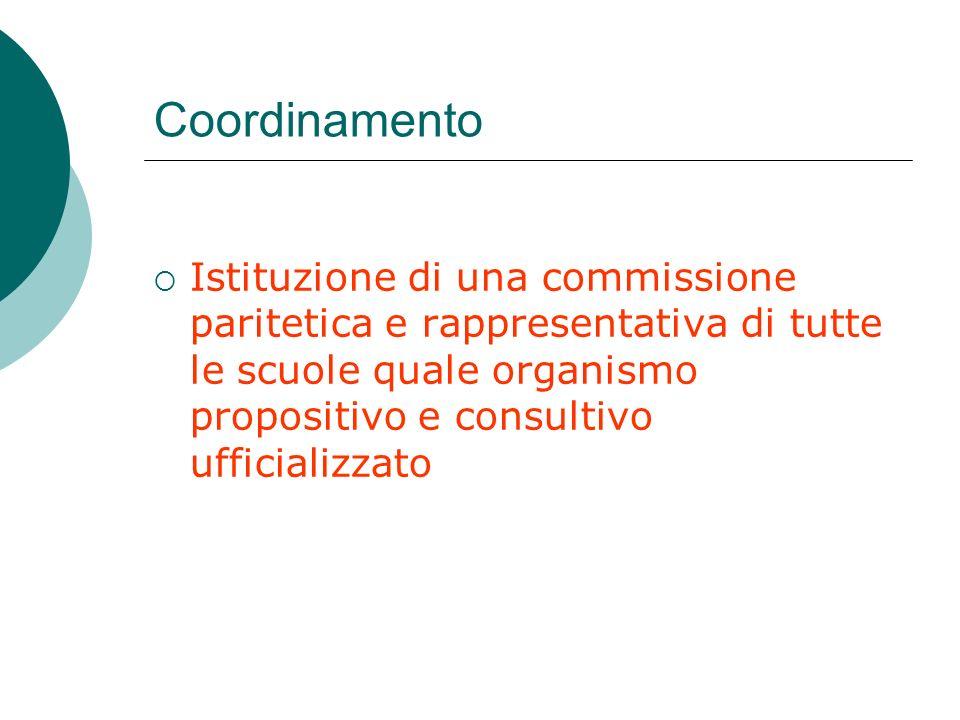 Coordinamento Istituzione di una commissione paritetica e rappresentativa di tutte le scuole quale organismo propositivo e consultivo ufficializzato.