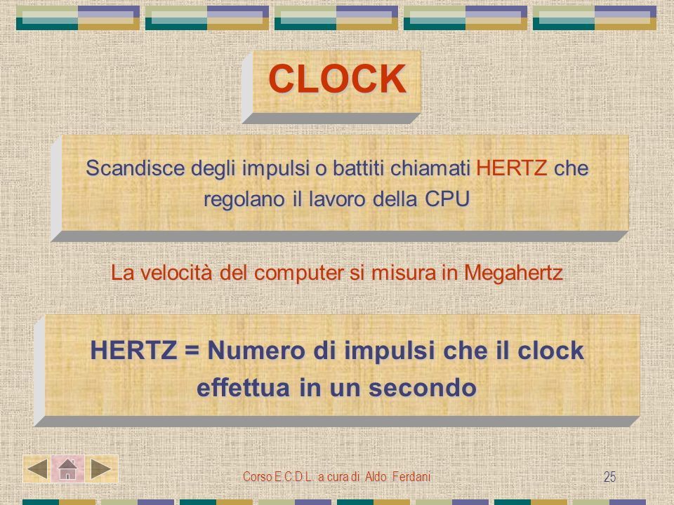 HERTZ = Numero di impulsi che il clock effettua in un secondo