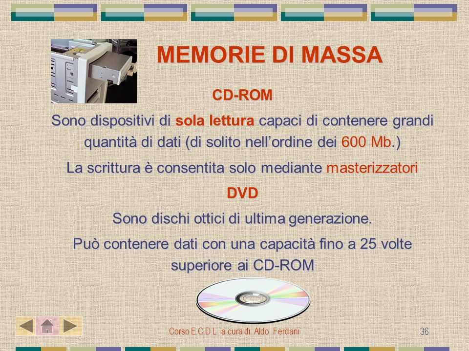 MEMORIE DI MASSA CD-ROM
