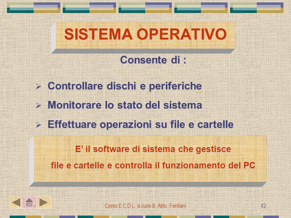 SISTEMA OPERATIVO Consente di : Controllare dischi e periferiche