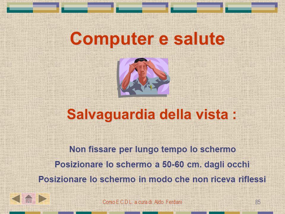 Computer e salute Salvaguardia della vista :