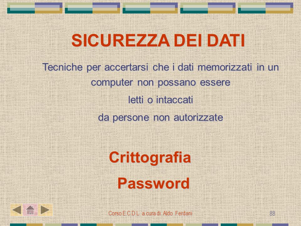 SICUREZZA DEI DATI Password