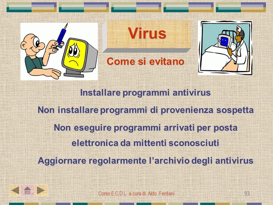 Virus Come si evitano Installare programmi antivirus