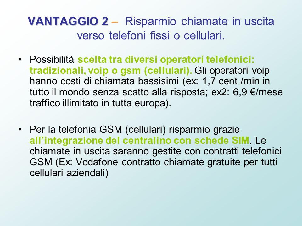VANTAGGIO 2 – Risparmio chiamate in uscita verso telefoni fissi o cellulari.