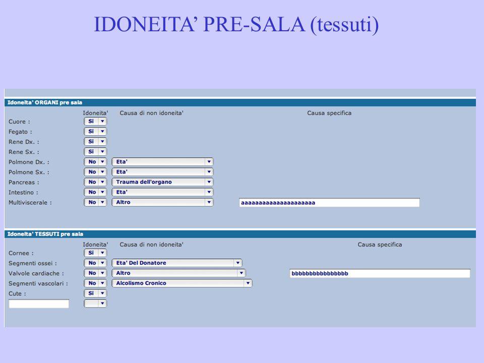 IDONEITA' PRE-SALA (tessuti)