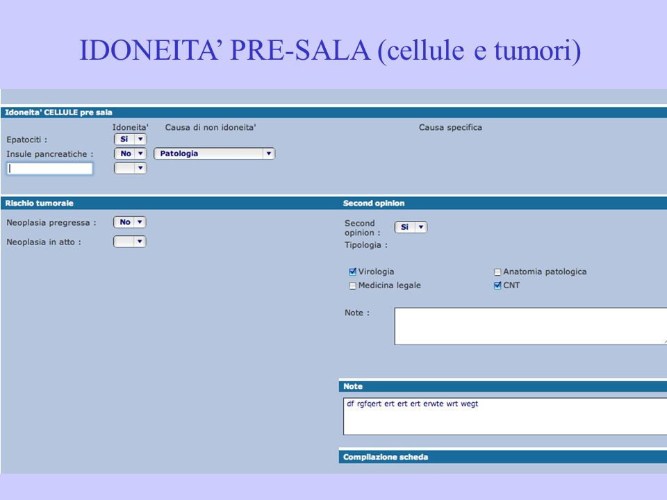 IDONEITA' PRE-SALA (cellule e tumori)