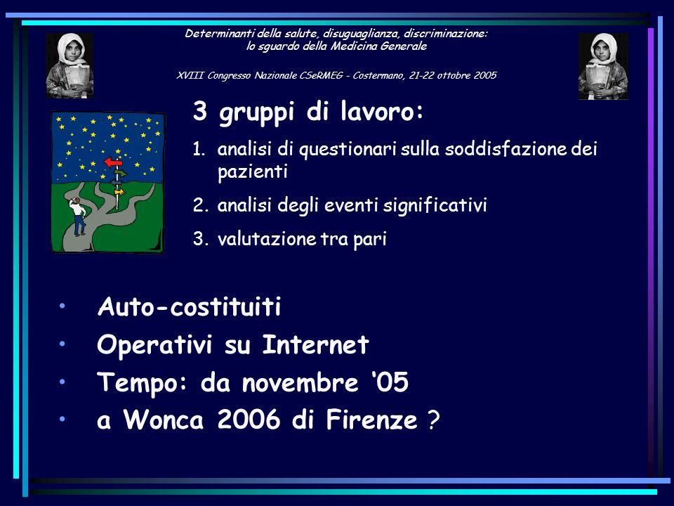 3 gruppi di lavoro: Auto-costituiti Operativi su Internet
