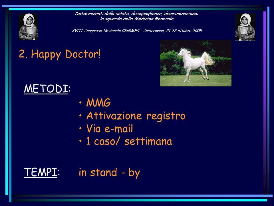 2. Happy Doctor!METODI: MMG. Attivazione registro. Via e-mail. 1 caso/ settimana. TEMPI: in stand - by.