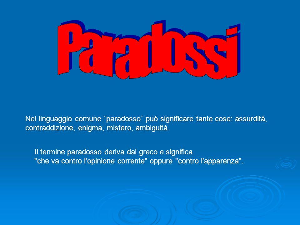 Paradossi Nel linguaggio comune `paradosso´ può significare tante cose: assurdità, contraddizione, enigma, mistero, ambiguità.