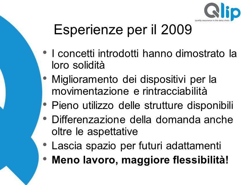 Esperienze per il 2009 I concetti introdotti hanno dimostrato la loro solidità.